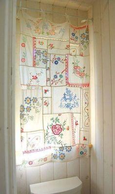 vintage hankies make a beautiful window treatment