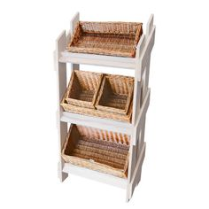 Retail Wooden Stand & 5 Wicker Baskets Set