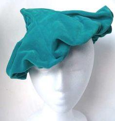 Vintage Teal Velvet Velour Pointed Beret Betmar 50s by fishstique
