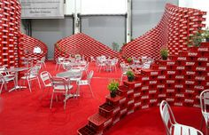 Upcycling Pavilion - Mexico, BNKR Arquitectura.......so cool! recycled red bins/cartons!