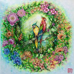 Cherry Lee's amazing #SecretGarden / #MagicalJungle mash-up! Coloring books by Johanna Basford