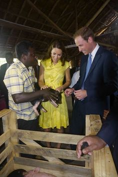 Love bright yellow dresses, so cheerful!  Duchess Kate: William and Kate Visit World Vision Project + Prime Minsiter's Office In Honiara