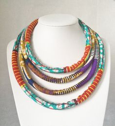 Multistrand Ankara necklace Ankara necklace Rope necklace Infinity necklace Charleston Necklace Fabric necklace Textile Necklace by UzuCreations on Etsy https://www.etsy.com/listing/259899440/multistrand-ankara-necklace-ankara