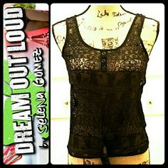 Selena Gomez Dream Out Loud Top Selena Gomez Dream Out Loud Signature Brand! Sexy Sleeveless Top in Black Lacey Details! Perfect for Skinny Jeans Or Any Outfit! Blend of Nylon/Spandex Material, Used in Mint Condition! Juniors Medium Size Dream Out Loud Shirts & Tops
