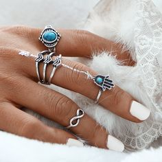17KM Vintage Fatima Hamsa Hand Ring Sets For Women Fashion Turkish Silver Color Turquoise Stone Infinity Midi Rings for Women