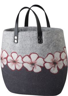 Grey 100% wool felted bag with needle felted flowers by Kerstin Schuermann from the 100% Kollektion  on Werkstück.com