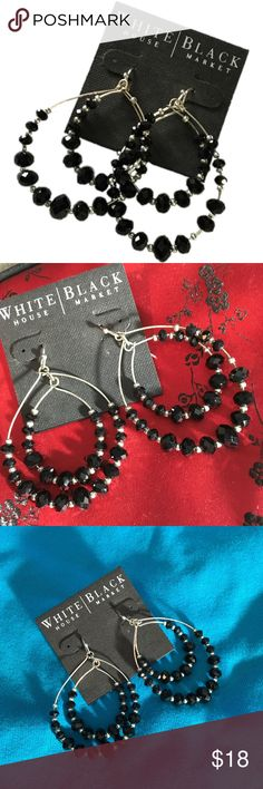 White House Black Market hoop earrings w/ black Cute hoop earrings from WHBM - worn once to a wedding for one evening.  Still have the thing them come on with the price tag.  These are not new - have been worn. White House Black Market Jewelry Earrings