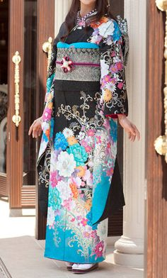 Black and light blue floral Japanese kimono.
