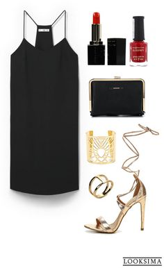 Чёрное платье в бельевом стиле - отличный фон для массивных золотых аксессуаров. Яркий макияж приветствуется. Хотите этот look себе? Покупайте здесь: http://looksima.ru/look/41627/