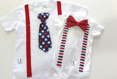 Sibling Set for Brothers. Boy tie and baby bowtie. Patriotic 4th of july. red white and blue outfit. boys onesie etsy handmade july fourth