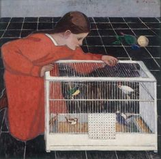 'Silvia Koller with a Bird Cage' (1907-1908) by Austrian painter Broncia Koller (1863-1934). Eisenberger Collection, Vienna. via The New York Review of Books