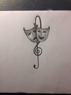 Theatre masks. Black and white contrast Tattoo idea