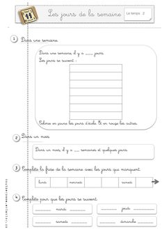 French Worksheets, Gcse Math, French Education, French Grammar, Days And Months, French Classroom, French Words, French Lessons, Teaching French