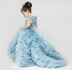 Girls Easter Dress Cute Blue Flower Girls Dresses With Long Train Organza With Ruffles Ball Gown Pageant Dresses For Little Girls 2016 Infant Girl Dresses From Gaogao8899, $108.91| Dhgate.Com