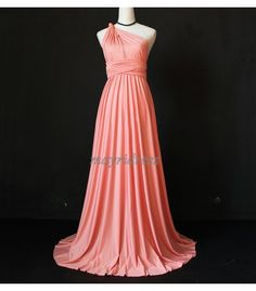 Coral Full Length Infinity Dress Wrap Convertible Dress Evening Bridesmaid Maxi Dress
