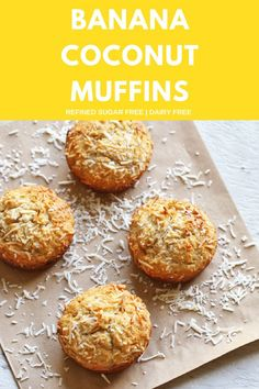 Hankering for a muffin but don't want all the sugar? These banana coconut muffins are your answer! A healthier version of a traditional muffin, they are refined sugar free and dairy free. They are perfect for an afternoon snack or packed in little lunch boxes. #bananamuffins #healthymuffins #healthysnacks #bananacoconutmuffins
