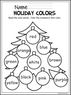 holiday art Free Christmas coloring activity to help Pre-K and Kindergarten students learn the colors. Color Worksheets For Preschool, Preschool Colors, Color Activities, Preschool Learning, Kindergarten Worksheets, Christmas Activities, Preschool Activities, Preschool Kindergarten, English Kindergarten