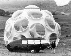 Buckminster Fuller with Fly's Eye dome & Dymaxion Car