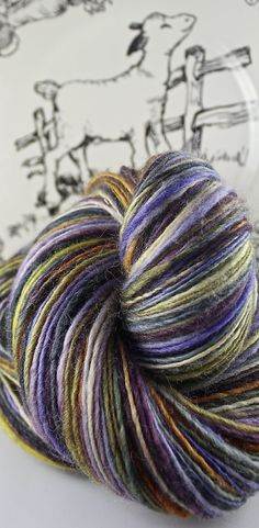 Handspun Yarn Gently Thick and Thin Single Blue Faced