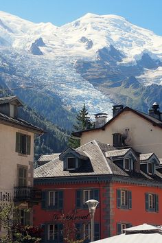 Chamonix et le Mont-Blanc, France this glacier overlooking the village of chamonix is amazing. Places Around The World, Oh The Places You'll Go, Places To Travel, Places To Visit, Around The Worlds, Travel Destinations, French Alps, French Countryside, Wonderful Places