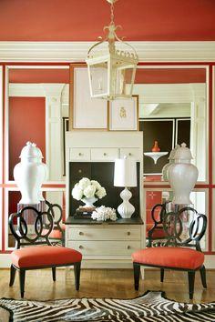 """Tobi Fairley Foyer, looks like Pantone's new color """"Tangerine Dream""""."""