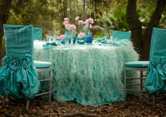 Gorgeous!  Wildflower Linens – feather turquoise table setting « Yara's Way Events