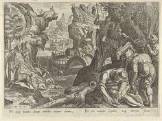Philips Galle | Jacht op gemzen, Philips Galle, 1578 | Een gems wordt achternagezeten door enkele jagers en jachthonden. In de achtergrond worden gemzen opgejaagd door jagers. De prent heeft een Latijns onderschrift en maakt deel uit van een 43-delige serie over de jacht.