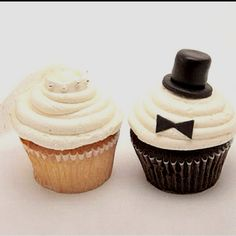 Bride and groom cupcakes! Great idea for the engagement party!