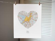 Waco heart map print by AGierDesign