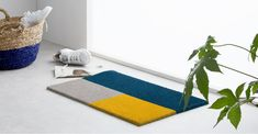 Elkan Doormat 45 x 75cm, Blue and Yellow   MADE.com