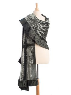 Luscious embossed silk velvet in pewter grey with a ruffled edge makes this evening wrap stand out diva style. Elegant semi circle shape and generously sized for a beautiful drape.
