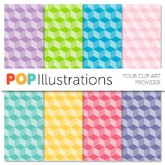Isometric Square Perspective Pattern - Digital Paper Clip Art - Scrapbooking Card Making and Paper Crafts POPIllustrations 2.99 USD