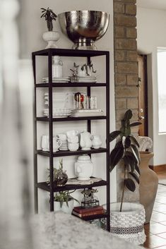 Cozy Kitchen Shelves - Arlyn LeBaron Cozy Kitchen, Kitchen Shelves, Black Shelves, Open Shelving, Bookcase, Storage, Home Decor, Kitchen Racks, Purse Storage