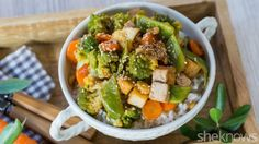 Tofu replaces meat in this super-simple stir-fry with veggies and oyster sauce