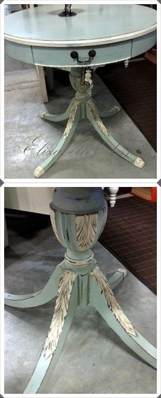 vintage drum table painted with ASCP  lightened Duck Egg and Old White