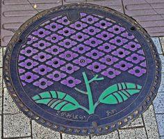 Fuchinobe #Drain, #manhole cover  - purple flowers