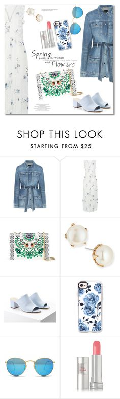 """""""Spring floral dress"""" by vkmd ❤ liked on Polyvore featuring Yves Saint Laurent, See by Chloé, Tory Burch, Lulu Frost, Forever 21, Joby, Casetify, Ray-Ban, Lancôme and springflorals"""