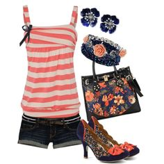 """Peach and Navy"" by jlg8503 on Polyvore"