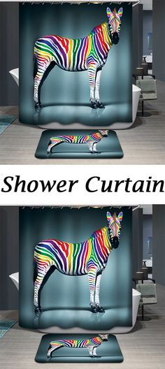 Hot Sale Rainbow Zebra Pattern Printing Waterproof Shower Curtain