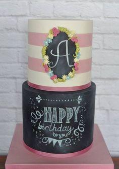 Stunning chalkboard birthday cake