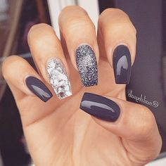 60 Best Stunning Dark Acrylic Nails Design For Prom 2019 - Page 45 of 60 - Diaror Diary - Trendy Nails Perfect Nails, Gorgeous Nails, Acrylic Nail Designs, Nail Art Designs, Nails Design, Dark Nail Designs, Art 33, Dark Acrylic Nails, Dark Nails With Glitter