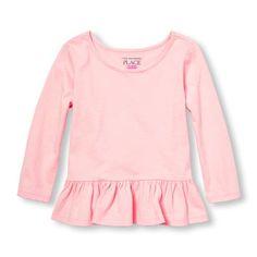Toddler Girls Long Sleeve Solid Ruffle Peplum Top