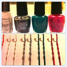 Cool Cosmetic Crafts: Make Your Own Colorful Hair Accessories!: Girls in the Beauty Department: Beauty: glamour.com paint nail polish on bobby pins. put on cardboard and paint.