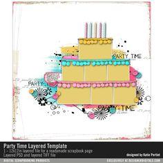 - Party Time Layered Template- Katie Pertiet - PSE/PS Templates- LT620138- DesignerDigitals