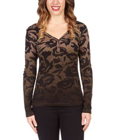 Look at this Jordache Coffee & Black Floral Henley on #zulily today!