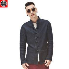 花笙记中国风帝旺针织牛仔唐装中式夹克修身时尚外套立领复古上衣-淘宝网