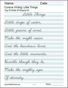 Printable cursive writing worksheets help your students learn how to write in cursive handwriting. PDF cursive practice sheets: alphabet, words, numbers, and sentences. Cursive Handwriting Sheets, Cursive Writing Practice Sheets, Handwriting Practice Worksheets, Cursive Writing Worksheets, Homeschool Worksheets, Improve Handwriting, Handwriting Analysis, Homeschool Curriculum, Cursive Writing For Kids
