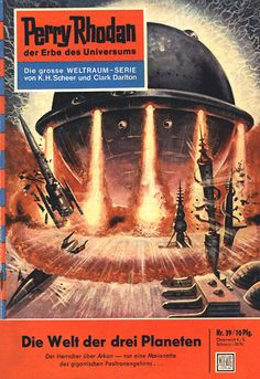 """Perry Rhodan - No. 39: The World of the Three Planets - by K.H. Scheer: Cover artwork by """"Johnny"""" Bruck: Was US issue #31 and called """"Realm of the Tri-Planets""""."""