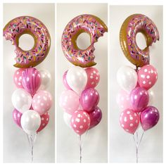 Donut super shape with polka dots, marble agate print and plain latex balloons. Donut Birthday Parties, Donut Party, Birthday Party Themes, Birthday Ideas, Baby Girl First Birthday, 2nd Birthday, Latex Balloons, Marble Balloons, Helium Balloons