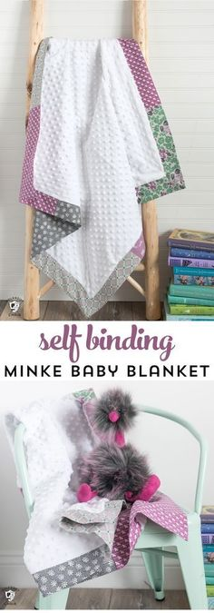 How to sew a self binding baby blanket with minke fabric. An easy baby blanket to sew for a beginner. #sewingpattern #sewingtutorial #minkebabyblanket #babyblankettutorial #selfbindingbabyblanket